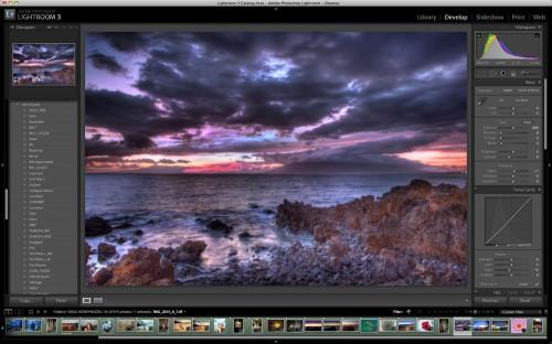 Lightroom 3 LR3 screenshot Maui sunset